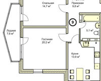 2-комнатная квартира 71.3 кв. м