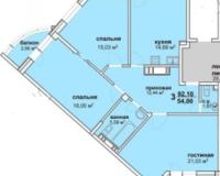 3-комнатная квартира 92.1 кв. м